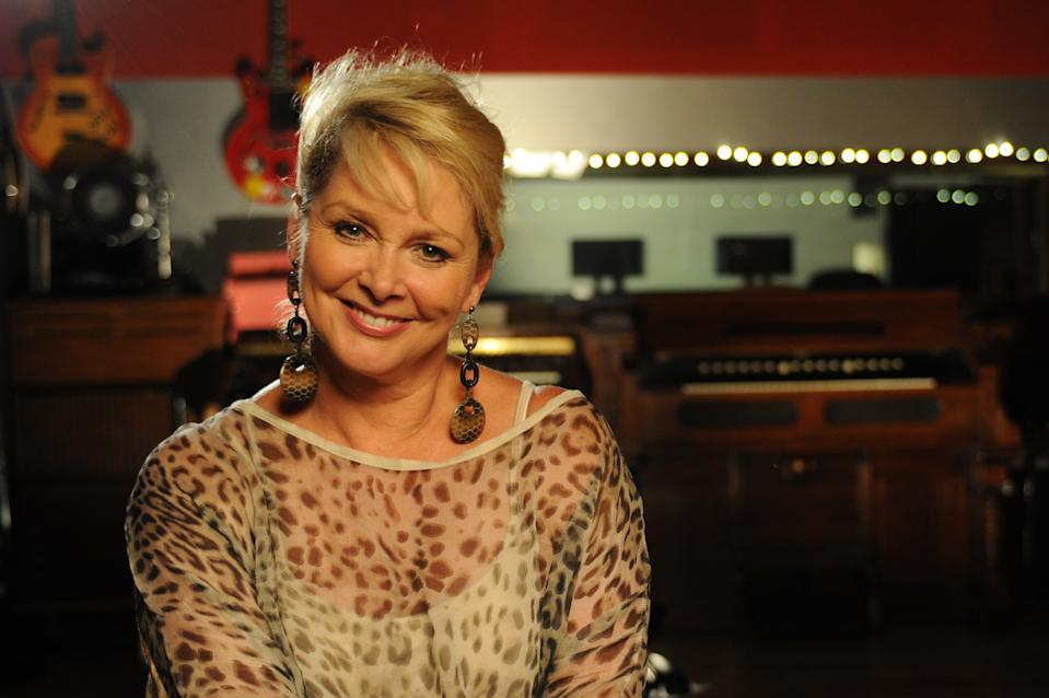 Cheryl Baker posing for a portrait for Vintage TV at The Dean St Studios in London.