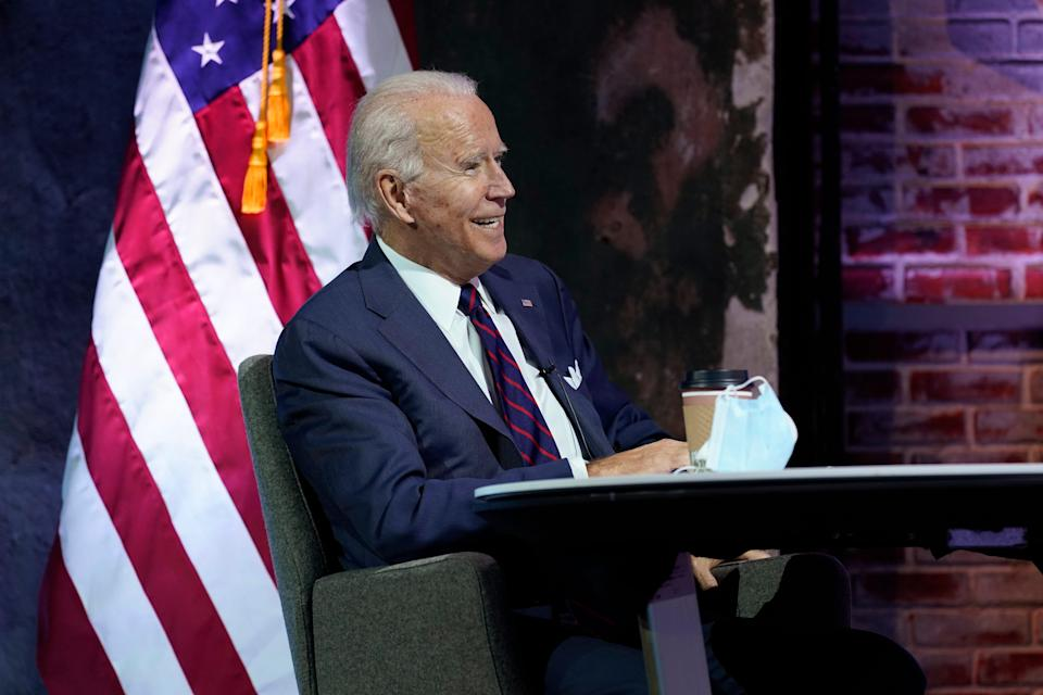 President-elect Joe Biden attends a national security briefing at The Queen theater, Tuesday, Nov. 17, 2020, in Wilmington, Delaware.