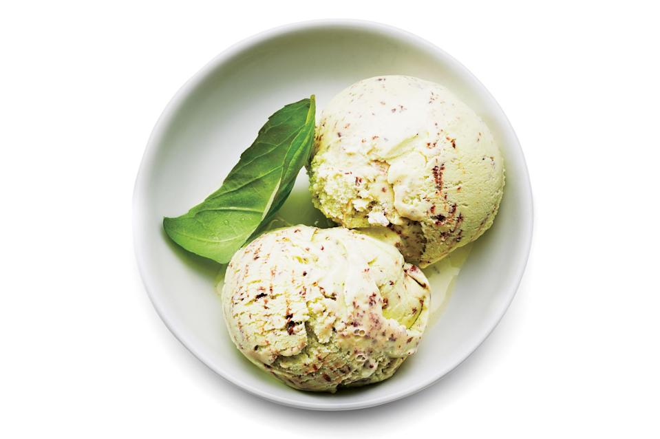 """A gallon-size zip-top bag is the perfect vessel for storing the base while it chills. <a href=""""https://www.bonappetit.com/recipe/mr-and-mrs-miscellaneous-basil-chip-ice-cream?mbid=synd_yahoo_rss"""" rel=""""nofollow noopener"""" target=""""_blank"""" data-ylk=""""slk:See recipe."""" class=""""link rapid-noclick-resp"""">See recipe.</a>"""