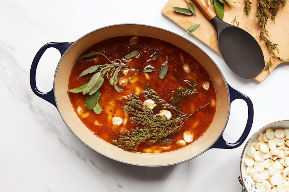 Cedar, sage, and hominy floating in a maple-sweetened braising pot.