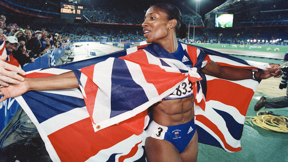 Denise Lewis, pictured here after winning gold at the 2000 Olympics in Sydney.