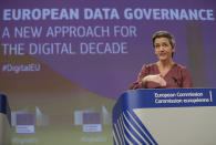 European Commissioner for Europe fit for the Digital Age Margrethe Vestager speaks during a media conference on European Data Governance at EU headquarters in Brussels, Wednesday, Nov. 25, 2020. (Stephanie Lecocq, Pool via AP)