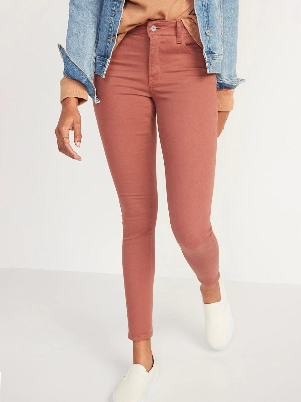 <p>Why not switch out standard blue for a pair of dusty red <span>Old Navy Mid-Rise Pop-Color Rockstar Super Skinny Jeans</span> ($23, originally $35) next?</p>