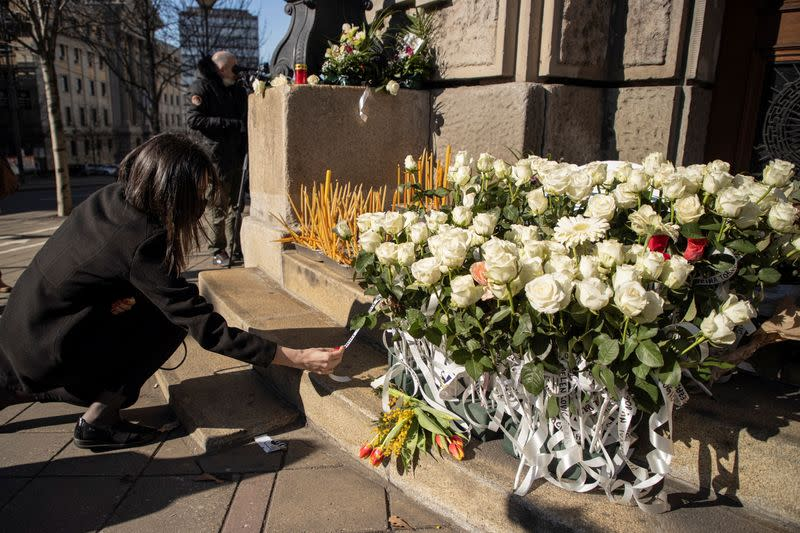People pay respects to medical workers died from Covid19 in Belgrade