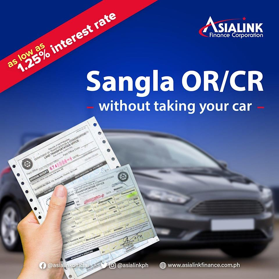 car collateral loan in the Philippines - Asialink Sangla OR/CR
