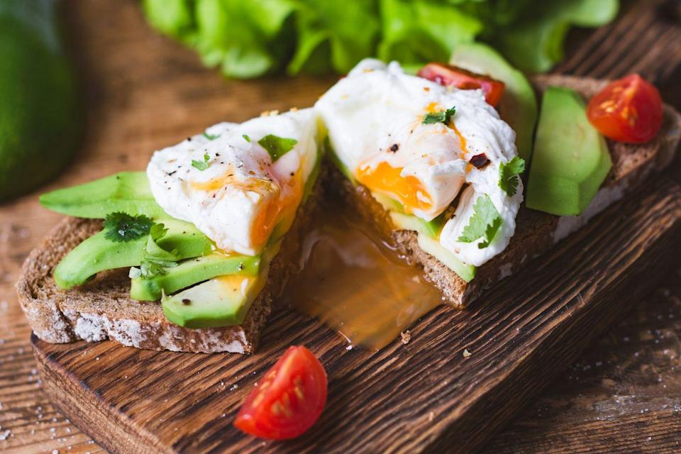 """<p><a href=""""https://www.prevention.com/food-nutrition/healthy-eating/a20508054/are-eggs-healthy/"""" rel=""""nofollow noopener"""" target=""""_blank"""" data-ylk=""""slk:Egg yolks"""" class=""""link rapid-noclick-resp"""">Egg yolks</a> are home to tons of essential but hard-to-get nutrients, including choline, which is linked to lower rates of <a href=""""https://www.prevention.com/health/health-conditions/a23011666/breast-cancer-facts/"""" rel=""""nofollow noopener"""" target=""""_blank"""" data-ylk=""""slk:breast cancer"""" class=""""link rapid-noclick-resp"""">breast cancer</a>. One large egg supplies <a href=""""https://ods.od.nih.gov/factsheets/Choline-HealthProfessional/"""" rel=""""nofollow noopener"""" target=""""_blank"""" data-ylk=""""slk:27% of your daily need"""" class=""""link rapid-noclick-resp"""">27% of your daily need</a> alongside antioxidants that may help prevent macular degeneration and cataracts. Bonus: You get 6 grams of muscle-building protein.</p><p><strong>Try it: </strong><a href=""""https://www.prevention.com/food-nutrition/recipes/a26991201/spinach-goat-cheese-egg-muffins-recipe/"""" rel=""""nofollow noopener"""" target=""""_blank"""" data-ylk=""""slk:Spinach and Goat Cheese Egg Muffins"""" class=""""link rapid-noclick-resp"""">Spinach and Goat Cheese Egg Muffins</a></p>"""