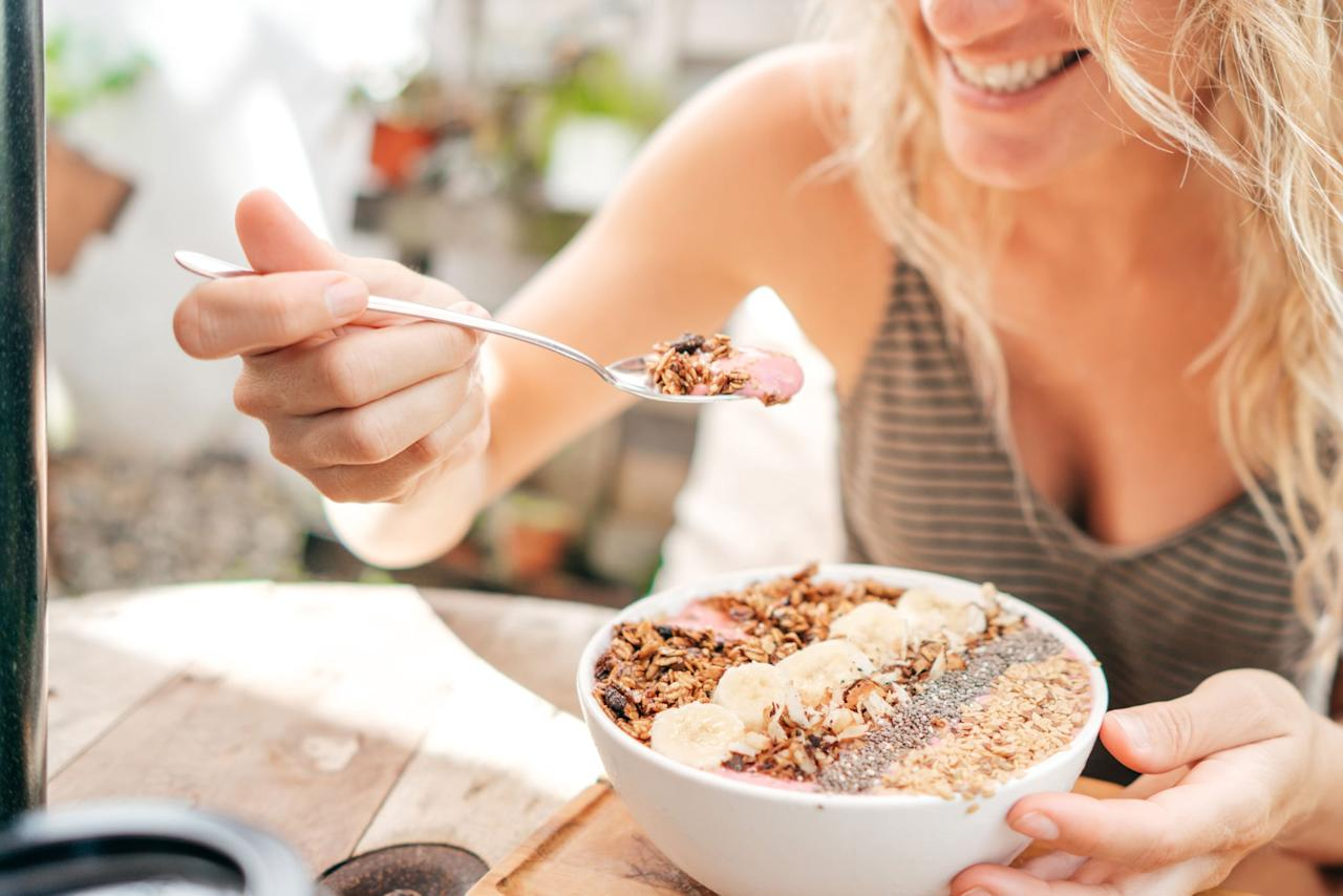 """<p>You need to use up more energy than you take in order to lower your body fat percentage, so monitoring your calorie intake is important. In order to maintain your weight, """"<a href=""""https://www.popsugar.com/fitness/How-Count-Calories-44488387"""" class=""""ga-track"""" data-ga-category=""""Related"""" data-ga-label=""""https://www.popsugar.com/fitness/How-Count-Calories-44488387"""" data-ga-action=""""In-Line Links"""">Caloric needs are based on numerous factors</a>,"""" Stephanie Ferrari, a registered dietitian with <a href=""""http://freshcommunications.com/"""" target=""""_blank"""" class=""""ga-track"""" data-ga-category=""""Related"""" data-ga-label=""""http://freshcommunications.com/"""" data-ga-action=""""In-Line Links"""">Fresh Communications</a>, told POPSUGAR. """"The most important ones for a healthy individual include gender, age, weight, height, and activity level."""" </p> <p>Registered dietitian Jessica Levings from <a href=""""https://balancedpantry.com/"""" target=""""_blank"""" class=""""ga-track"""" data-ga-category=""""Related"""" data-ga-label=""""https://balancedpantry.com/"""" data-ga-action=""""In-Line Links"""">Balanced Pantry</a> recommends making an appointment with a registered dietitian so he or she can help you design an individualized eating plan based on your calorie needs and weight goals. If you're unable to meet with an RD, <a href=""""https://www.popsugar.com/fitness/How-Many-Calories-Should-I-Eat-Lose-Weight-45132272"""" class=""""ga-track"""" data-ga-category=""""Related"""" data-ga-label=""""https://www.popsugar.com/fitness/How-Many-Calories-Should-I-Eat-Lose-Weight-45132272"""" data-ga-action=""""In-Line Links"""">use this formula to calculate how many calories you need to lose weight</a>.</p>"""