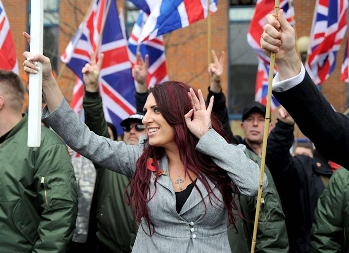 Jayda Fransen at a 'Britain First' rally in support in London (Rex features)