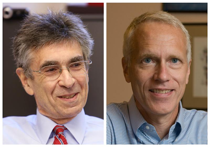 In this combination of photos made Wednesday, Oct. 10, 2012, Duke University professor Robert Lefkowitz, left, is seen at his office in Durham, N.C., and Stanford University professor Brian Kobilka is seen at his home in Palo Alto, Calif., after they were named winners of the 2012 Nobel Prize in Chemistry. The two American researchers won the Nobel Prize in chemistry Wednesday for studies of protein receptors that let body cells sense and respond to outside signals like danger or the flavor of food. Such studies are key for developing better drugs. (AP Photo/Ted Richardson, left; Stanford University, Linda A. Cicero, right)