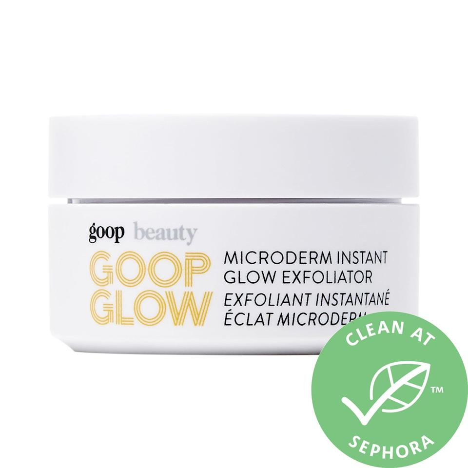 """<p>Say goodbye to clogged pores with this <a href=""""https://www.popsugar.com/buy/GOOPGLOW-Microderm-Instant-Glow-Exfoliator-556296?p_name=GOOPGLOW%20Microderm%20Instant%20Glow%20Exfoliator&retailer=sephora.com&pid=556296&price=42&evar1=bella%3Aus&evar9=45633828&evar98=https%3A%2F%2Fwww.popsugar.com%2Fbeauty%2Fphoto-gallery%2F45633828%2Fimage%2F47431505%2FGOOPGLOW-Microderm-Instant-Glow-Exfoliator&list1=sephora%2Cbeauty%20shopping%2Cbest%20of%202020%2Cskin%20care&prop13=mobile&pdata=1"""" class=""""link rapid-noclick-resp"""" rel=""""nofollow noopener"""" target=""""_blank"""" data-ylk=""""slk:GOOPGLOW Microderm Instant Glow Exfoliator"""">GOOPGLOW Microderm Instant Glow Exfoliator</a> ($42).</p>"""