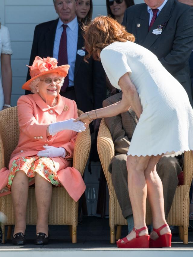 Queen Elizabeth and Susan Sarandon at the Royal Windsor Cup Final 2018 at Guards Polo Club