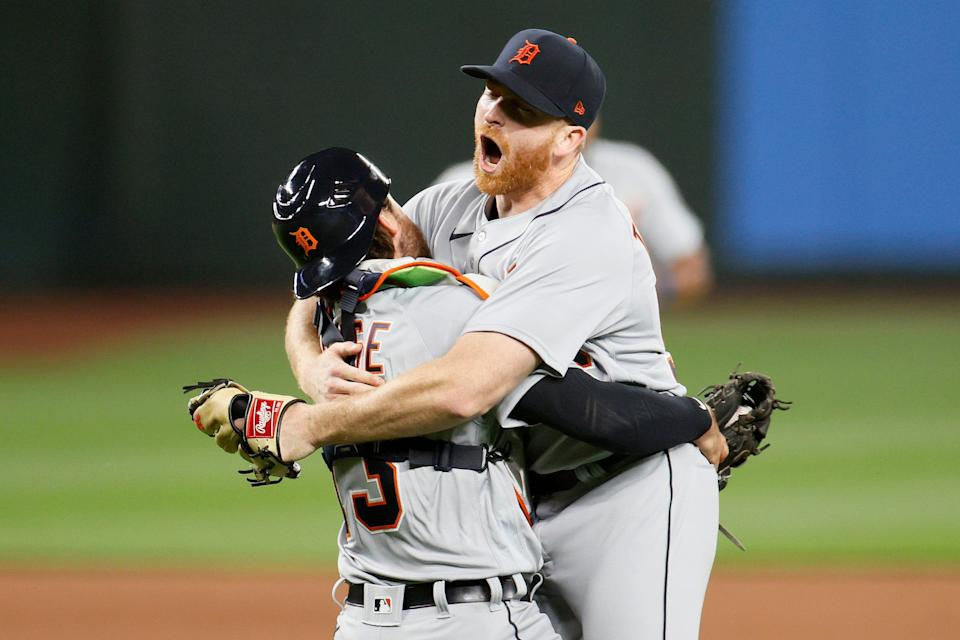Spencer Turnbull and Eric Haase of the  Tigers celebrate after Turnbull's no-hitter against the Mariners.