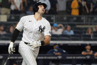 New York Yankees' Joey Gallo watches his three-run home run during the seventh inning of the team's baseball game against the Seattle Mariners, Thursday, Aug. 5, 2021, in New York. (AP Photo/Mary Altaffer)