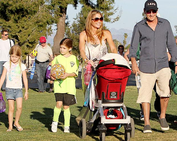 Denise Richards and ex Charlie Sheen stroll with their girls, Lola and Sam, and Denise's new daughter, Eloise (Aguilar/Jones/PacificCoastNews.com)