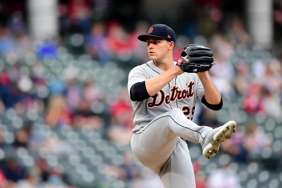 Tarik Skubal of the Detroit Tigers delivers a pitch in the second inning during a game against Cleveland at Progressive Field on April 10, 2021, in Cleveland, Ohio.