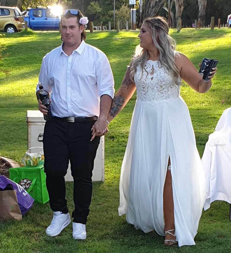 Courtney Fuller pictured on wedding day before coronavirus social distancing laws