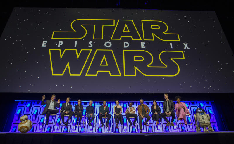 CHICAGO, IL - APRIL 12: Stephen Colbert, J.J. Abrams, Kathleen Kennedy, Anthony Daniels, Billy Dee Williams, Daisy Ridley, John Boyega, Oscar Isaac, Kelly Marie Tran, Joonas Suotamo and Naomi Ackie during the Star Wars Celebration at the Wintrust Arena on April 12, 2019 in Chicago, Illinois. (Photo by Barry Brecheisen/Getty Images)