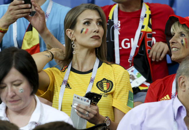 <p>Noemie Happart Carrasco, wife of Yannick Carrasco of Belgium during the 2018 FIFA World Cup Russia Round of 16 match between Belgium and Japan at Rostov Arena on July 2, 2018 in Rostov-on-Don, Russia. (Photo by Jean Catuffe/Getty Images) </p>