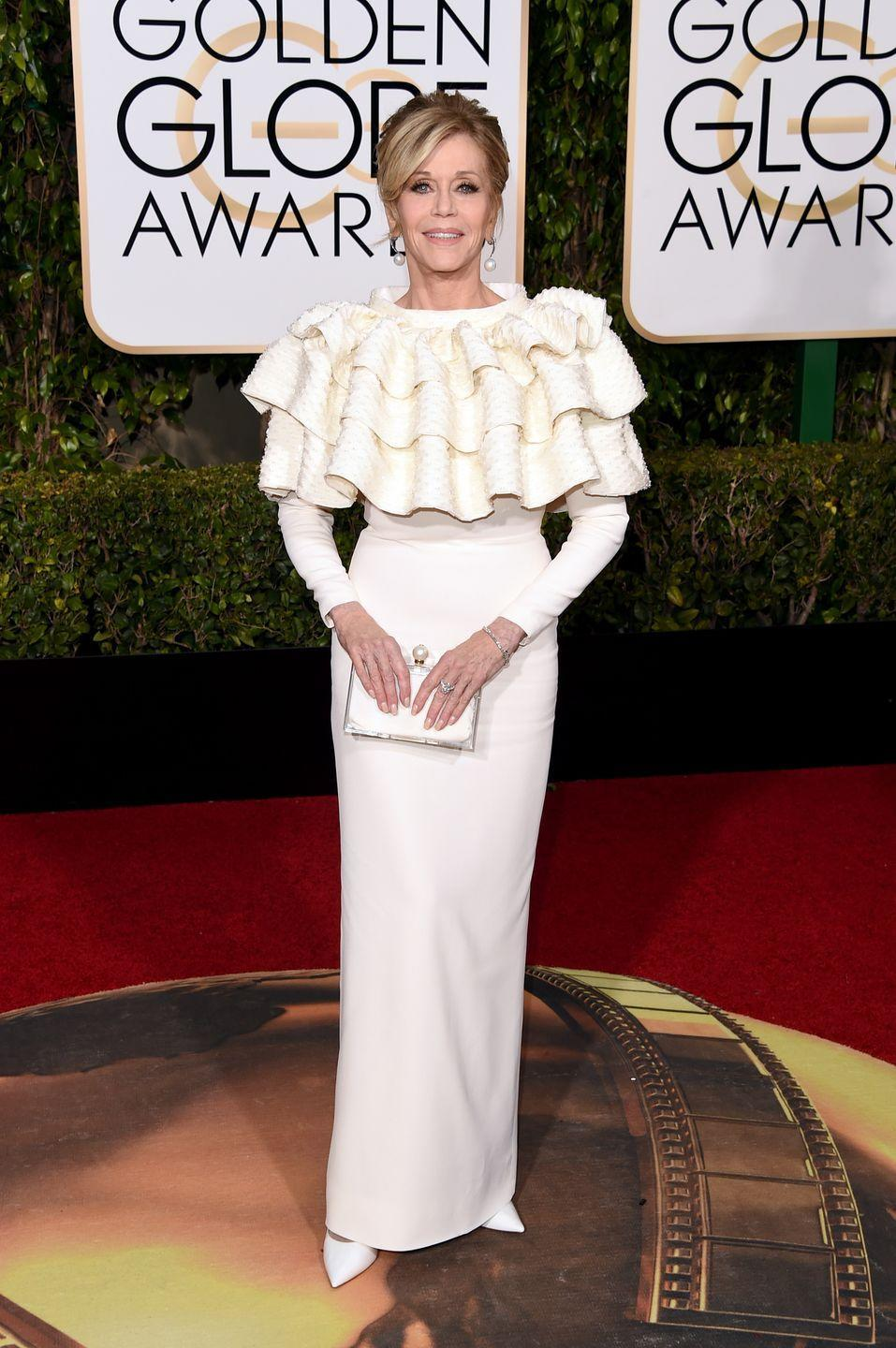<p>Ruffles strike again in 2016, but this time Jane Fonda is the victim. </p>