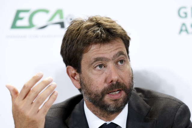 Italy's Andrea Agnelli, chairman of the European Club Association, ECA, speaks to the media, during a press conference after the general assembly of the European Club Association, ECA, in Geneva, Switzerland, Tuesday, Sept. 10, 2019. (Salvatore Di Nolfi/Keystone via AP)