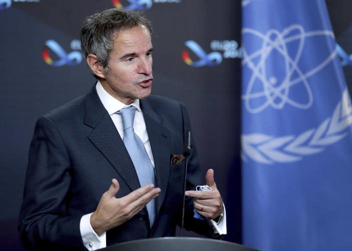 Rafael Mariano Grossi, Director General of International Atomic Energy Agency (IAEA), peaks during a joint press conference as part of a meeting with German Foreign Minister Heiko Maas in Berlin, Germany, Monday, Oct. 26, 2020. (AP Photo/Michael Sohn, pool)