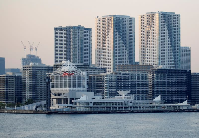FILE PHOTO: 2020 Tokyo Olympic Games athletes' village (foreground) is pictured in Tokyo