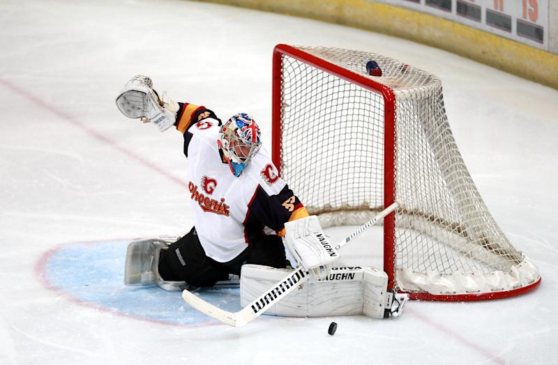 Guildford Phoenix goaltender Petr Cech in action during the NIHL2 match at Guildford Spectrum Leisure Complex, Guildford. (Photo by Ian Walton/PA Images via Getty Images)