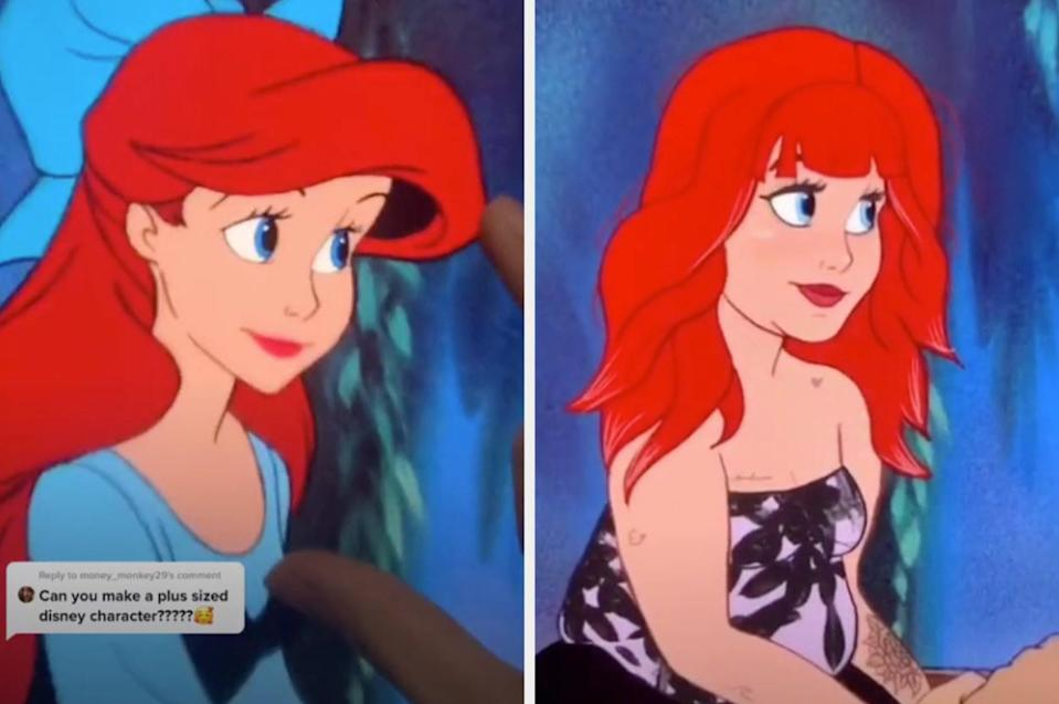 The classic ariel side by side with Lexis' Ariel, who has tattoos, on her face, gothic clothing, and bangs and layers in her hair