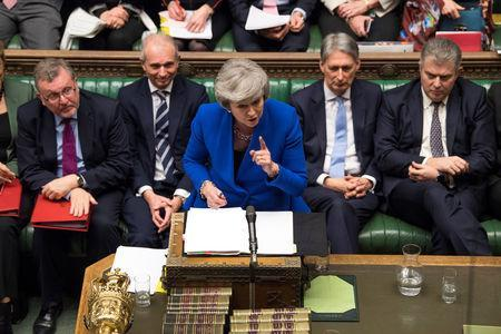 British Prime Minister Theresa May talks during a no confidence debate after Parliament rejected her Brexit deal, in London, Britain, January 16, 2019. UK Parliament/Jessica Taylor/Handout via REUTERS