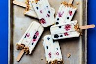 """Adults and kids alike will love waking up to these fruit-studded, high-protein, low-sugar yogurt pops. <a rel=""""nofollow noopener"""" href=""""https://www.epicurious.com/recipes/food/views/breakfast-yogurt-pops-with-fruit-and-granola?mbid=synd_yahoo_rss"""" target=""""_blank"""" data-ylk=""""slk:See recipe."""" class=""""link rapid-noclick-resp"""">See recipe.</a>"""
