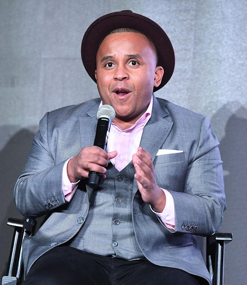 ATLANTA, GEORGIA - MARCH 04: Rashad Robinson speaks onstage during the BET 'Finding Justice' Atlanta premiere at The Foundry At Puritan Mill on March 04, 2019 in Atlanta, Georgia. (Photo by Paras Griffin/Getty Images for BET Finding Justice)