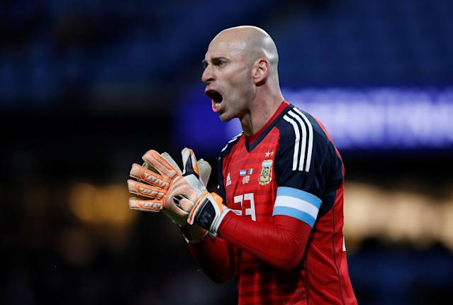 Soccer Football - International Friendly - Italy vs Argentina - Etihad Stadium, Manchester, Britain - March 23, 2018 Argentina's Willy Caballero reacts REUTERS/Phil Noble