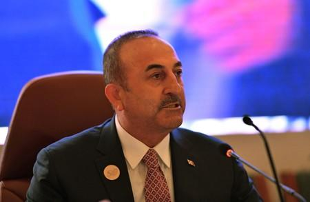 FILE PHOTO: Foreign Minister of Turkey Mevlut Cavusoglu speaks during a preparatory meeting for the GCC, Arab and Islamic summits in Jeddah
