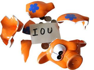 IOU in smashed piggy bank