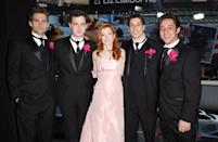"""<p>The <b>American <span class=""""nofilter"""">Wedding</span></b> cast suited up for the Valentine's Day <b>TRL</b> episode in 2003.</p>"""