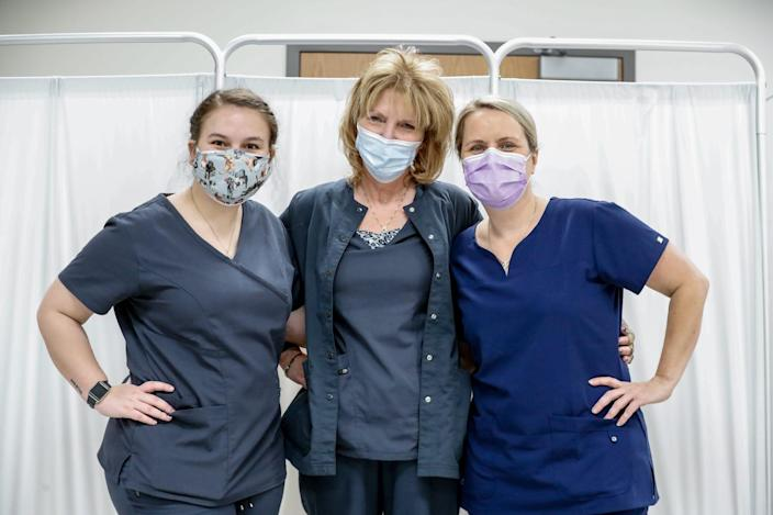 Left to right, Macy White, her grandmother Angie Stark, and mother, Brandi White are photographed together at Ascension St. Vincent William K. Nasser, MD, Healthcare Education and Simulation Center, 1801 W. 86th Street, Indianapolis Ind., Saturday, Jan. 16, 2020.