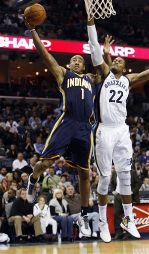 Memphis Grizzlies forward Rudy Gay (22) defends Indiana Pacers forward Dahntay Jones (1) in the second half of an NBA basketball game on Friday, Feb. 10, 2012, in Memphis, Tenn. The Grizzlies won 98-92. (AP Photo/Alan Spearman)