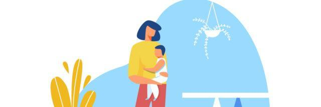Illustration of young mother holding baby in hand