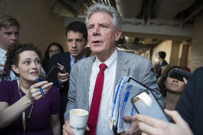 Frank Pallone talks with reporters after a meeting of the House Democratic Caucus. (Photo By Tom Williams/CQ-Roll Call, Inc via Getty Images)