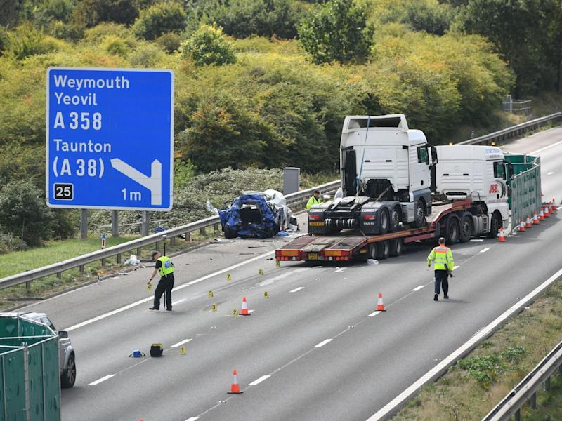 The road was closed following the M5 collision