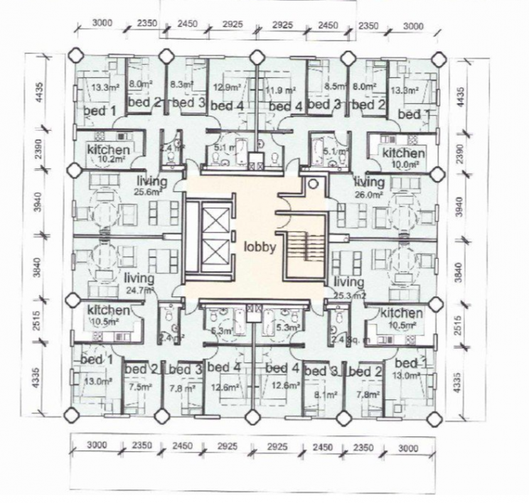 A floor plan of the Grenfell Tower (Picture: @JustinHemming/Twitter)