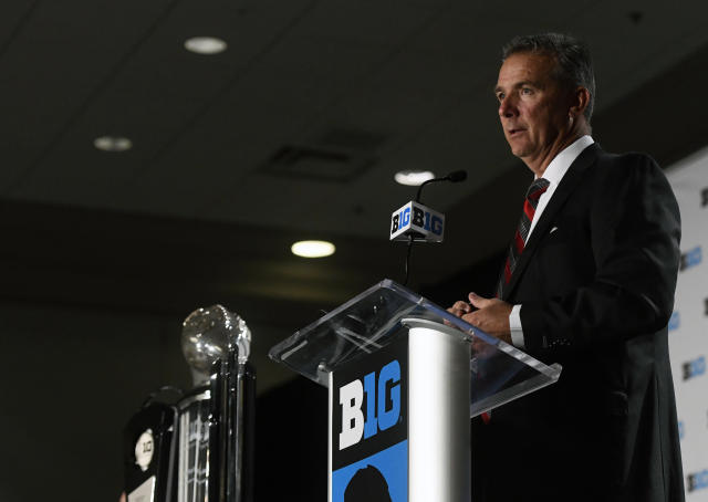Ohio State head coach Urban Meyer speaks at the Big Ten Conference NCAA college football Media Days in Chicago, Tuesday, July 24, 2018. (AP Photo/Annie Rice)