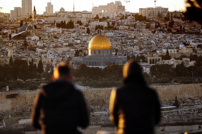 The sun sets over Jerusalem (AFP Photo/THOMAS COEX)