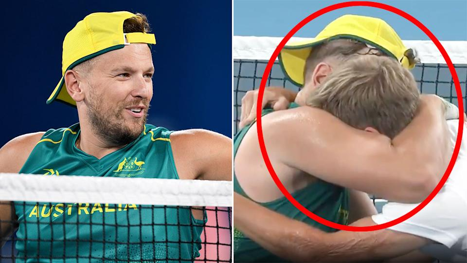 Pictured here, Dylan Alcott's classy moment with Niels Vink after a thrilling Paralympic tennis semi-final.