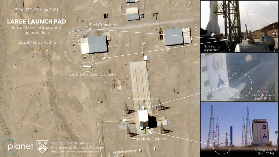 This satellite image provided by Planet Labs Inc. that has been annotated by experts at the James Martin Center for Nonproliferation Studies at Middlebury Institute of International Studies shows preparation at the Imam Khomeini Spaceport in Iran's Semnan province on June 20, 2021 before what experts believe will be the launch of a satellite-carrying rocket. Iran likely conducted a failed launch of a satellite-carrying rocket in recent days and now appears to be preparing to try again, their latest effort to advance their space program amid tensions with the West over its tattered nuclear deal. (Planet Labs Inc., James Martin Center for Nonproliferation Studies at Middlebury Institute of International Studies via AP)