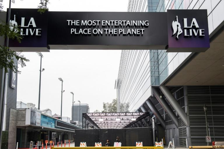 Part of the Emmys will be held outside at the LA Live venue -- and not everyone who wants to attend will get an invitation due to Covid-19 protocols (AFP/VALERIE MACON)