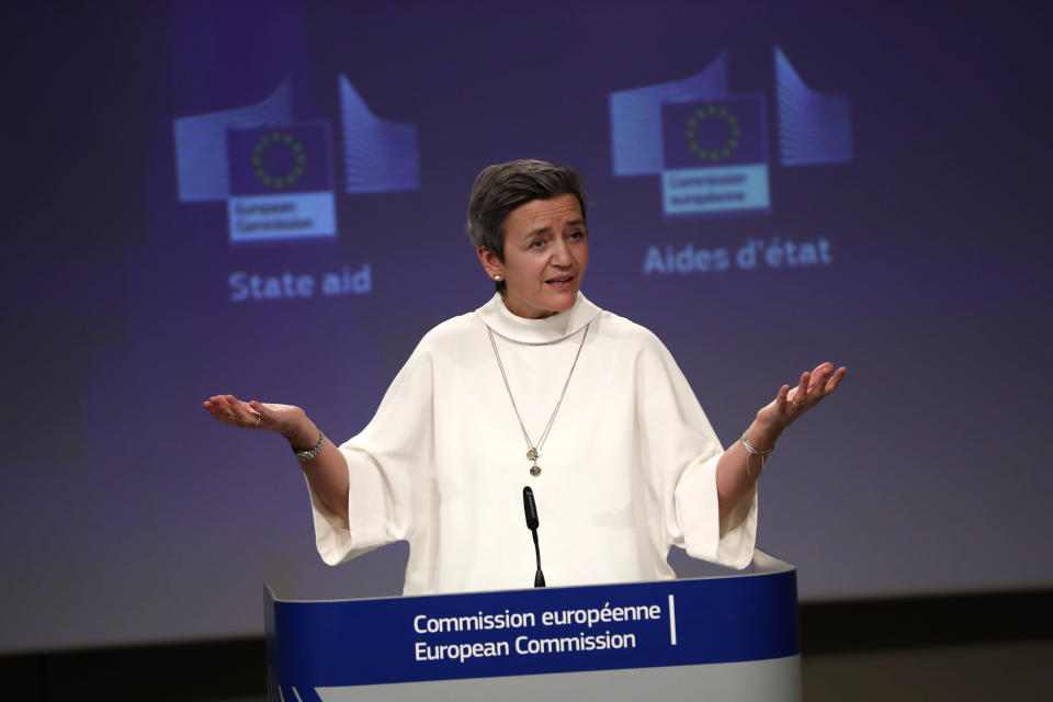 European Commissioner for Europe fit for the Digital Age Margrethe Vestager speaks during a news conference on European project in battery value chain at the European Commission headquarters in Brussels,Tuesday, Jan. 26. 2021. The European Union has approved €2.9 billion (US3.53 billion) in subsidies from 12 member countries for a second pan-European project to develop the bloc's electric battery industry and move away from its reliance on Asian imports. (AP Photo/Francisco Seco, Pool)