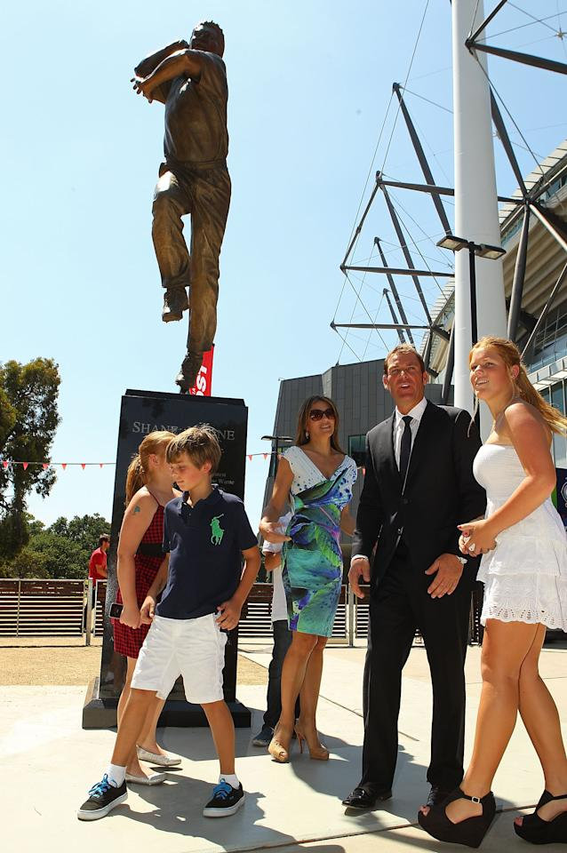 MELBOURNE, AUSTRALIA - DECEMBER 22:  Summer Warne, Jackson Warne, Elizabeth Hurley, Shane Warne, Damian Hurley and Brooke Warne look on during the unveiling of the Shane Warne statue at the Melbourne Cricket Ground on December 22, 2011 in Melbourne, Australia.  (Photo by Scott Barbour/Getty Images)