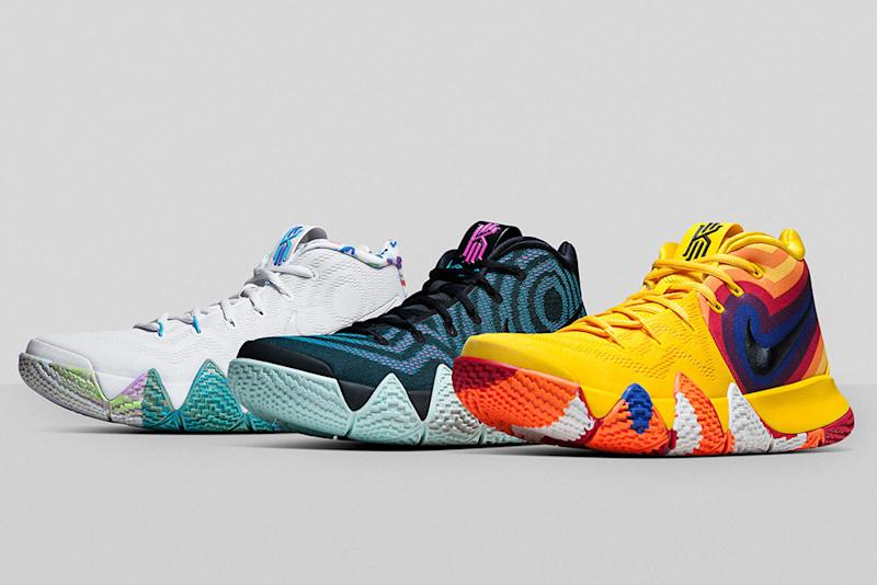 18653cd30484 Kyrie Irving s Nike Kyrie 4  Decade s Pack  Celebrates the  70s ...