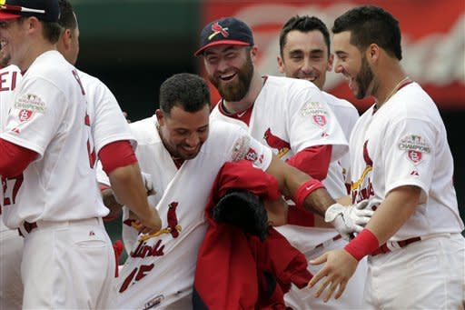 St. Louis Cardinals' Rafael Furcal, center, is congratulated by teammates after his game-wining single in the ninth inning of a baseball game against the Miami Marlins, Sunday, July 8, 2012, in St. Louis. The Cardinals won 5-4. (AP Photo/Tom Gannam)